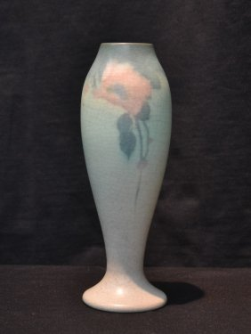Rookwood Pottery Vase With Pink Flowers