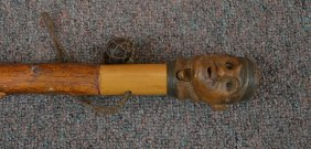 Rare Carved Wood Cane With Mans Head Handle