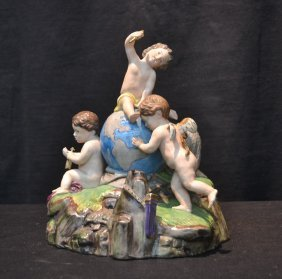 Painted Bisque Grouping Of (3) Puttis & Cherub