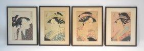 (4) Japanese Geisha Girls Wood Block Prints