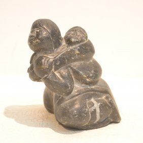 "Inuit Stone Woman Carving - 4"" X 4"""