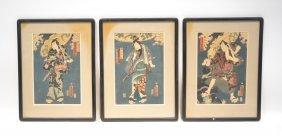 Set Of (3) Triptych Oriental Wood Block Prints