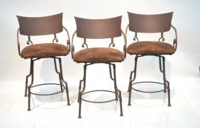 (3) Swivel Wrought Iron Counter Stools