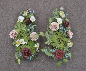 (pr) Hand Painted Tole Wall Hanging Flowers