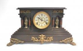Ingraham Co. Wood Clock With Columns &
