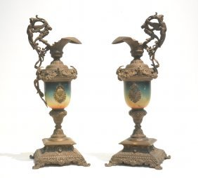 (pr) White Metal Ewers With Figural Handles ,