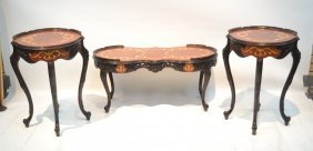Floral Inlaid Mahogany Coffee Table &