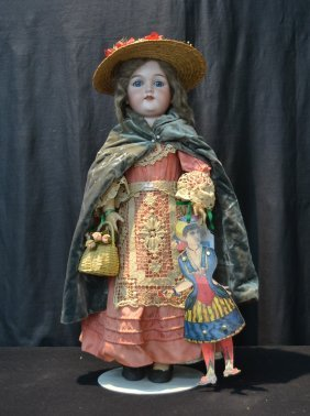 German Am 390 Bisque Head Doll With Mohair &