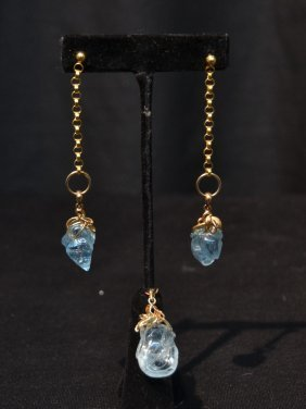 "(pr) 14kt Aqua Marine Earrings (3 1/4"") &"