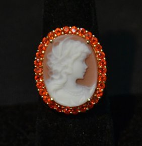 14kt Gold Cameo Ring Surrounded By Orange