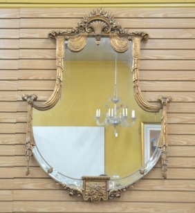 Large Shield Form Mirror With Etched Border ,