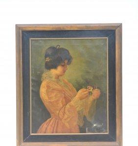 Antique Oil On Canvas 3/4 Portrait Of Woman