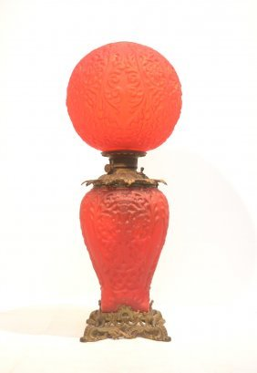 Victorian Red Satin Glass Gone With The Wind