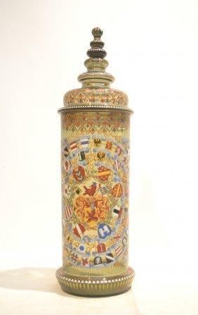 Bohemian Enameled Glass Tankard With