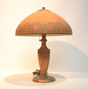Signed Handel Table Lamp With Domical Ice