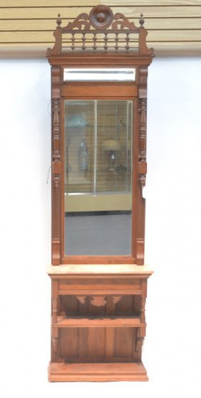 Marble Top Hallstand With Bonnet Mirror
