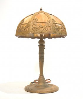 8-panel Filigree Slag Glass Table Lamp
