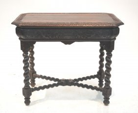 Carved Oak Library Table With Barley Twist