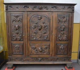 Heavily Carved European 3-door Cabinet