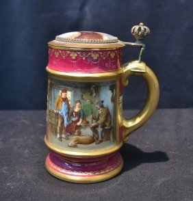 Royal Vienna Porcelain Stein With Hunter Scene