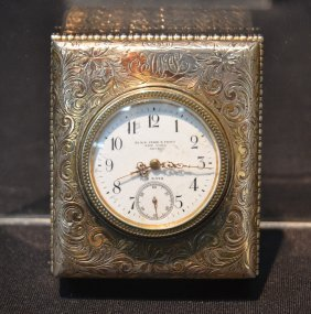 Engraved Silver Black , Starr & Frost Travel Clock