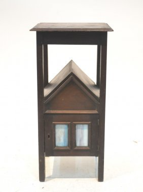 Mission Style Side Cabinet With (6) Stained Glass