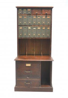 Oak Card Catalogue File Cabinet