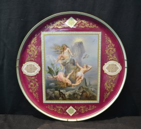 Vienna Porcelain Charger Of (3) Semi Nude Women