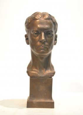 American Bronze Bust Of Man ; With
