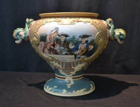 Mettlach , 1895 Punch Bowl With Figural