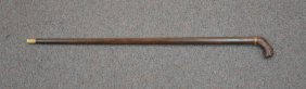 "Carved Wood Bull Dog Handle Cane - 33"" Long"