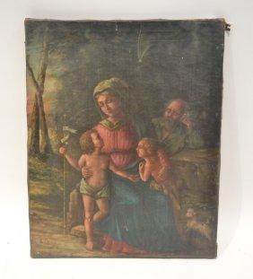 19thc Religous Oil On Canvas Figures With