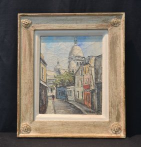 Oil On Canvas Parisian Street Scene