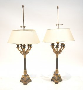 French Bronze Empire Candelabra Lamps