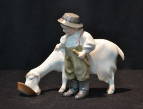 Hungarian Porcelain Figurine Of Boy With Goat