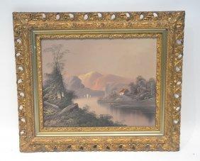 Oil On Canvas Mountain Lake Landscape