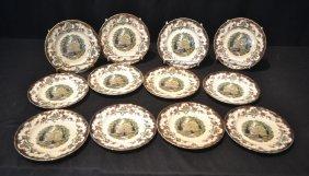 "(12) Leeds Masons China Plates - 8"""