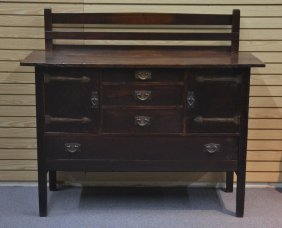 Gustav Stickley, Oak Sideboard # 814 With