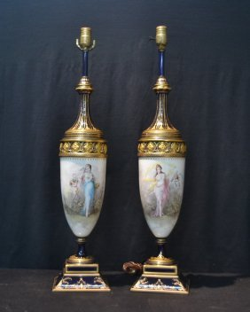 (pr) 19thc Cobalt Sevres Lamps With