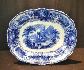 Victorian English Flow Blue Platter
