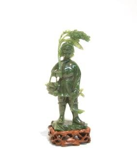 Spinach Jade Carving Of Boy On Stand