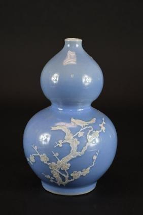 Chinese Pale Blue Glaze Double Gourd Porcelain Vase