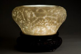 Magnificent Chinese Carved White Nephrite Jade Bowl