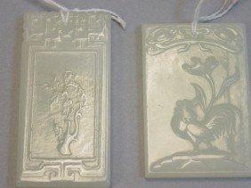 Two Square Nephrite Jade Pendants