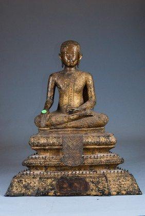 Antique Bronze Monk & Rosewood Base