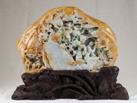 A Rare Well-Carved Jadeite Mountain