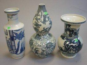 Three Blue & White Vases