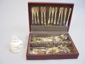 Ivory Box & Base And A Set Of Knives & Forks