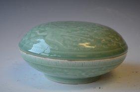 Chinese Celedon Glazed Covered Dish