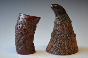 Two Carved Horn Pieces